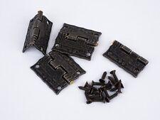 4 / 12 Mini-Scharniere 25x23mm antik Muster inkl. Schrauben f. Schatullen Möbel
