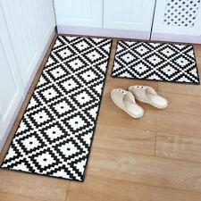 Black White Door Mat Anti-slip Flannel Plush Rug Carpet Kitchen Runner Home Deco