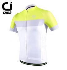 CHEJI White-Yellow Men's Cycling Jerseys Full Zipper Bike Bicycle Biking T-shirt