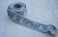 Unicorn Childrens belt handmade adjustable kids country d ring velcro blue pony