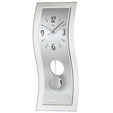 AMS 7300 Pendeluhr Quarz mit Pendel silbern modern geschwungen mit Aluminium Uhr