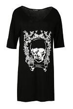 Women Ladies Floral Skull Rebel Print V Neck Baggy Oversized Mini PJ Shirt Dress