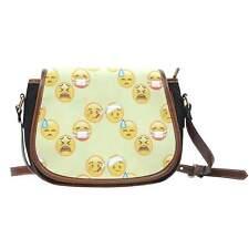 Emojis Sick Crossbody Shoulder Canvas Leather Saddle Bag