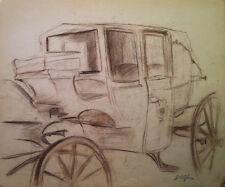 John M. Alfsen (Canadian)  - Antique Vehicle -Original Conte drawing (c1945)