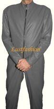 LEDERANZUG neu  Lederoverall grau Overall Anzug leather Catsuit Lederkombi