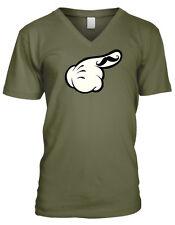 Gloved Hand Finger Mustache Fingerstache Hold Up Face Meme Men's V-Neck T-Shirt