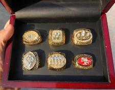 6PCS San Francisco 49ers Championship Ring Set With Wooden Display Box Fan Gift