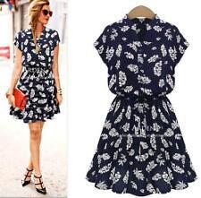 Summer Elegant Women Cup Sleeve Chiffon Navy Blue Vintage Floral Slim Midi Dress