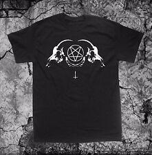 Satanic Goat Skull T Shirt Punk Occult Gothic Satan Metal Baphomet Pentagram Tee