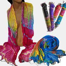Schal Damenschal mit Perlen Fransen 200x90 cm Regenbogen Batik  Hippie Chiffon