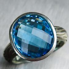 6.4ct NATURALE SVIZZERO BLU TOPAZIO ARGENTO 925/9ct 14K 18k oro platino anello