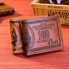Brown Credit Card Purse Bifold Dollar Bill Pattern Wallet