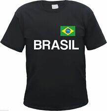 BRASILIEN T-Shirt + schwarz/weiss mit Flagge Druck + Gr. S bis 3XL + brasil wm