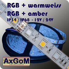 RGBA- / RGBW-LED-Strip - amber / warmweiß+RGB - 12V / 24V - IP54 / IP68 - 5m-72W