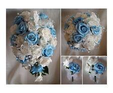 Brides,Demoiselles d'honneur Fleurs Bouquet De Mariage bleu/Ivoire/Blanc