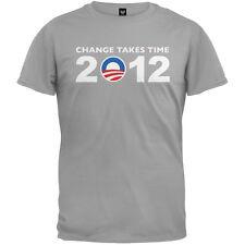 Obama - 2012 Change Takes Time Grey Adult Mens T-Shirt