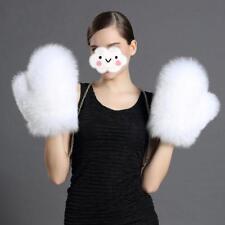 Women's Winter Gloves Lined Luxury Genuine Fox Fur Gloves Chain Gloves Mittens