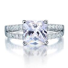 NSCD Simulated 2 Carat Diamond Ring Engagement Wedding Platinum Finish Silver