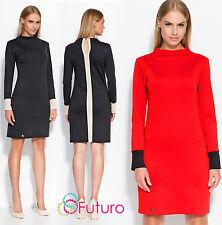 Ladies Work Office Turtleneck Knee Length Long Sleeve Bodycon Dress FA529