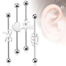 Industrial piercing 316l vara Barbell acero inoxidable mancuerna oreja conector estrella corazón...