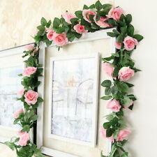 240cm Artificial Rose Garland Silk Flower Vine Ivy Wedding Garden String Decor