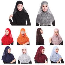 Women Muslim Hijab Islamic Flower Lace Scarf Shawls Headwear Hats Caps Amira Hot