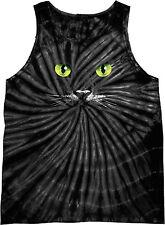 Mens Halloween Black Cat Tie Dye Tank Top