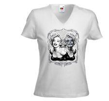 Rockabilly Damen T-Shirt Marilyn Twin weiß Pinup Sugar Skull Tattoo