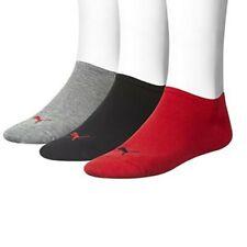 PUMA Unisex Sneakersocken Invisible 3er-Pack Rot Grau Schwarz