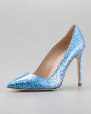 $935 NEW Manolo Blahnik BB 105 EXOTIC Snakeskin PYTHON Pump Blue Heels Shoes 37