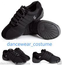 New Women Canvas Split Sole Modern Jazz Hip Hop Dance Sneakers Shoes US5-9 Black