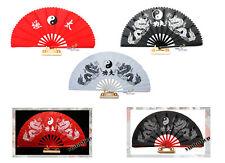 KungFu Deko Hand Fächer Drachen YinYang chin.Schriftzeichen TaiChi Fächer