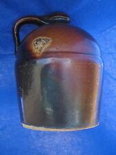 Antique PEORIA POTTERY Crock WHISKEY JUG Dark Brown Glaze Whisky Stoneware Vtg