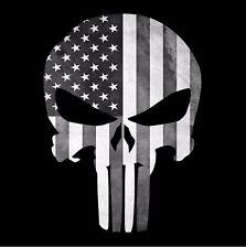 PUNISHER SKULL AMERICAN FLAG BLACK WHITE STICKER DECAL USA MADE BUY 2GET 3RDFREE