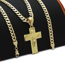 Mens 18k Gold Plated JESUS CROSS(S)  Hip-Hop Pendant 6mm Cuban Chain Necklace