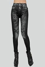 Pantaloni stampa teschio finti jeans aderenti Print Skull Legging skin