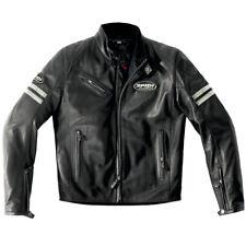 Spidi Ace Leather Cafe Racer Retro Motorcycle Jacket - Ice / Black
