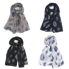 Womens autum leaf printed maxi viscose headscarf