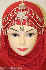 New Diamante Pearl Matha Patti HijabTikka Head Piece Bridal Costume Jewellery