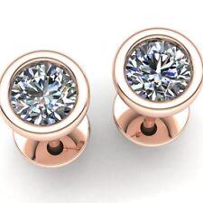 1ct Round Cut Diamond Ladies Casual Solitaire Bezel Stud Earrings 18K Gold