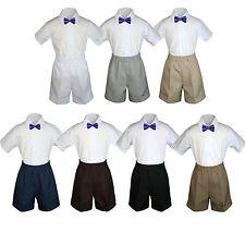 3pc Baby Boys Toddler Formal Purple Bowtie Black Dark Khaki Shorts Set Sm-4T