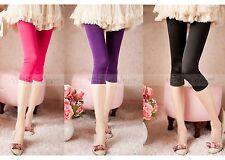 Juniors' Skinny Basic Plain Stretch Cropped Capri Leggings Footless Smooth Soft