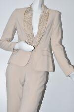 $4470 NEW ESCADA 2 Pc Pant Suit GOLD BEADED Blazer Silk Pants Solitare Beige 36