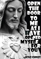 Jesus Christ - Open The Door  Inspirational Motivational Quote Typography Poster
