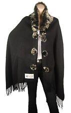 ConMiGo London black elegant wool winter wrap with fox fur collar