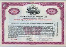 Monmouth Park Jockey Club Stock Certificate New Jersey