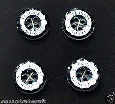 50x Moda Blanco Negro Ronda 4 Agujeros Resina botón 12mm