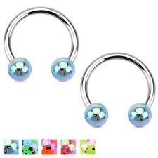 Pair of Acrylic Ball Horseshoe Circular Barbells Ring Septum Tragus Lip Piercing
