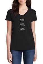 V-Neck Wife Mom Boss Shirt Present Gift Idea Mama Bear Funny Trendy Shirt