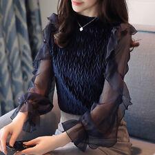Sexy Spring Long Sleeve Women Shirt Tops Casual Velvet Flare Sleeve Blouse Hot
